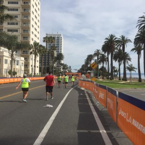 The finish line in the distance.