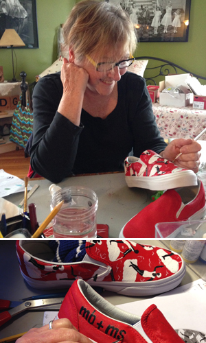 Joan hand-painting my new shoes!