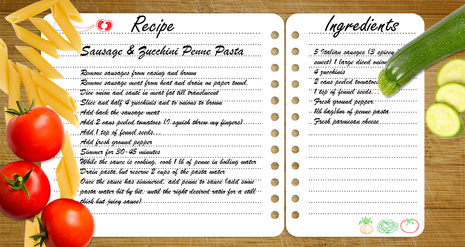 A Family Favorite Recipe: Zucchini & Sausage Penne Pasta