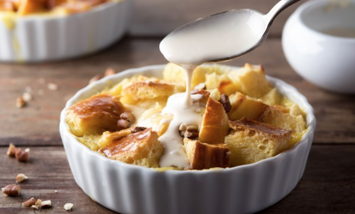 Apple Bread Pudding with Vanilla Sauce